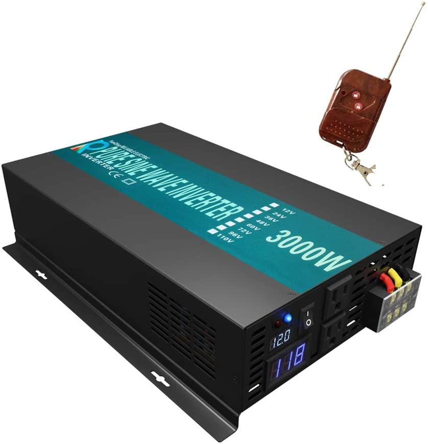 WZRELB RBPRC300012 3000W 12V 110~120V Pure Sine Wave Solar Power Inverter with Remote Control Switch
