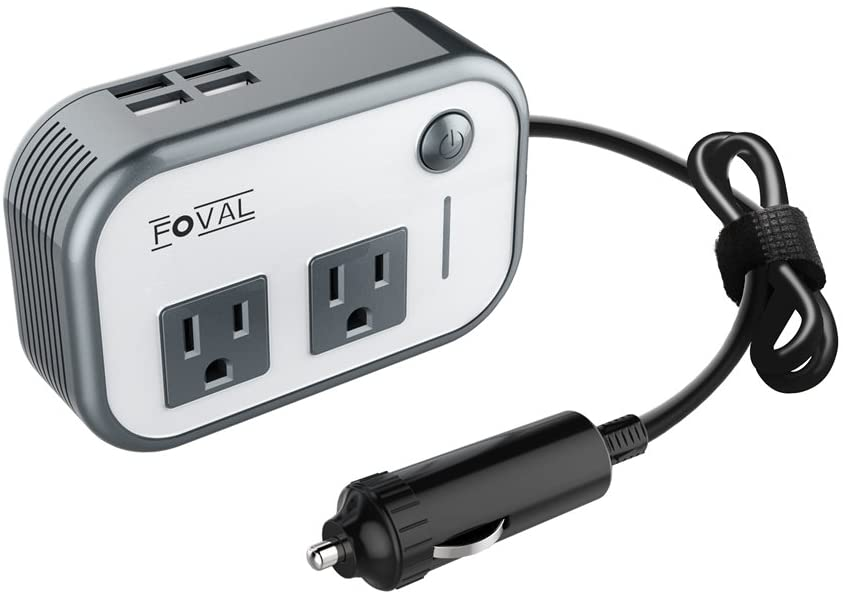 FOVAL 200W Car Power Inverter DC 12V to 110V AC Converter with 4 USB Ports Charger