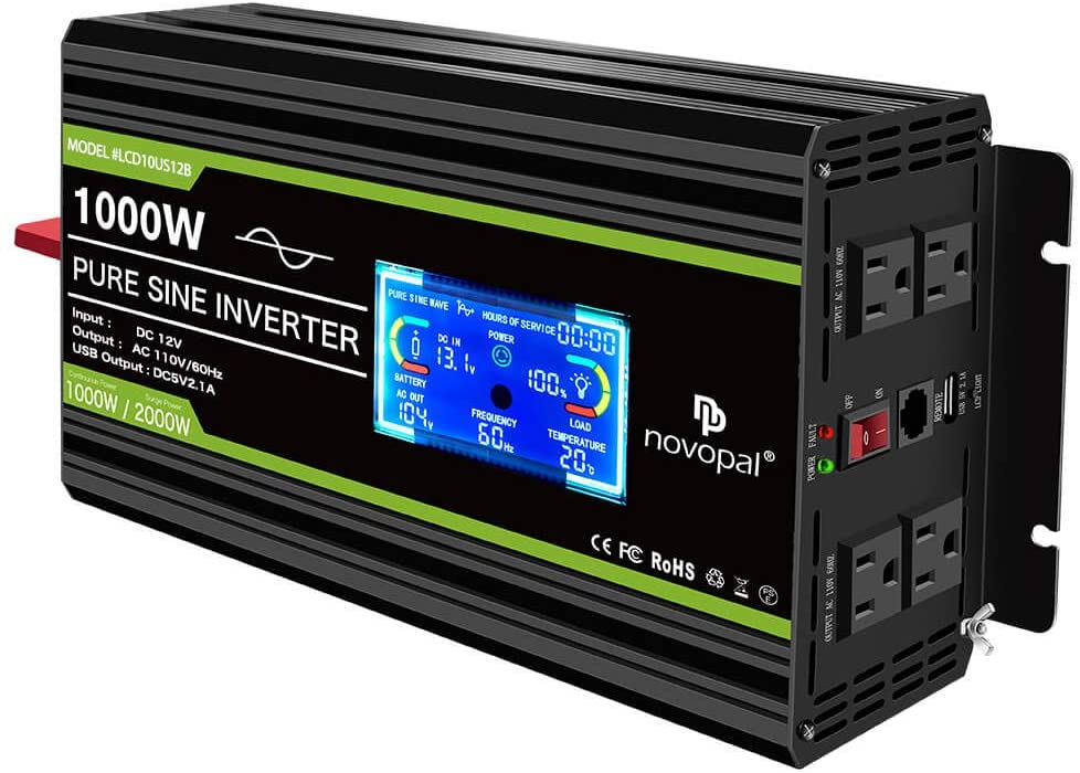 Novopal Power Inverter Pure Sine Wave-1000 Watt 12V DC to 110V/120V AC Converter- 4 AC Outlets Car Inverter with 1 USB Port-16.4 feet Remote Control,Two Cooling Fans and LCD Display