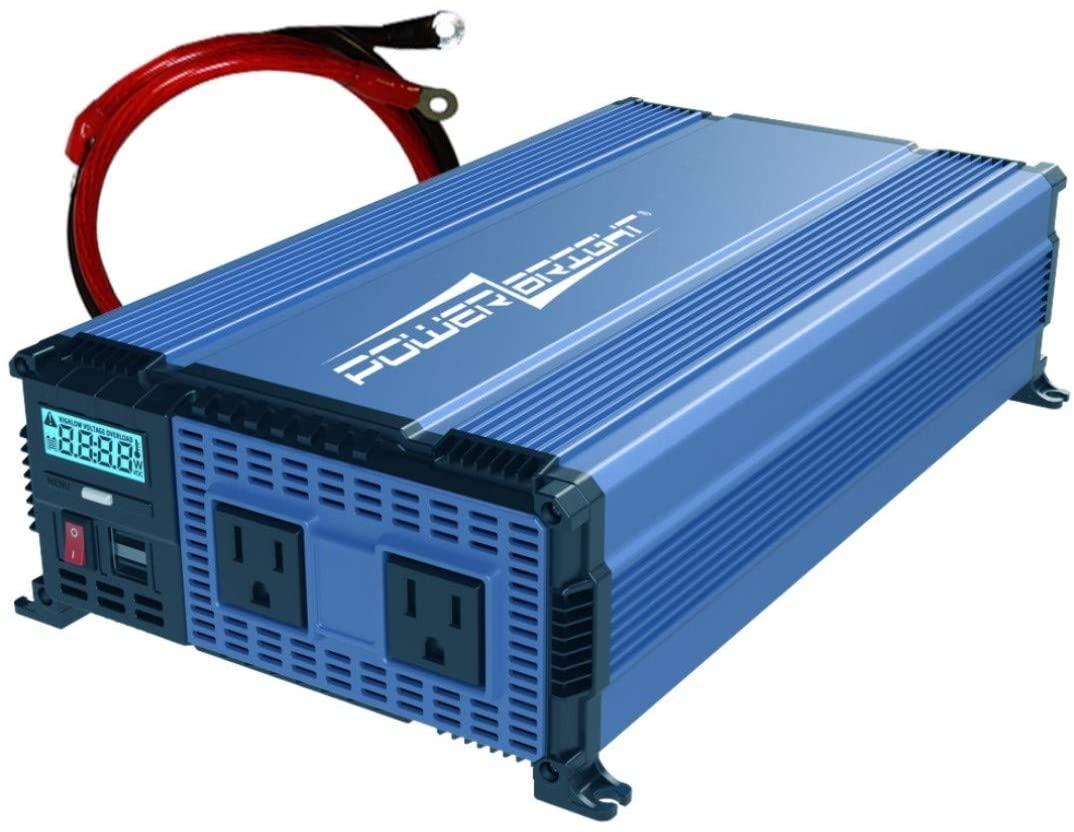 PowerBright 1100 Watts Power Inverter 12V to 110V, Modified Sine Wave Car Inverter, DC to AC Converter
