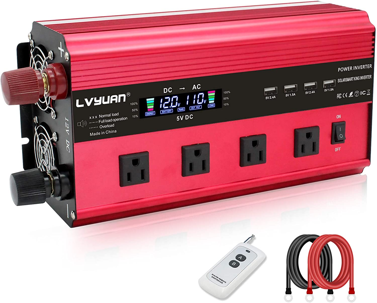 Cantonape 2500W Power Inverter 12V to 110V DC to AC with LCD Display, Remote Controller 4 x AC Outlets and 4 x 3.1A USB Car Adapter for Car Truck Boat RV Solar System
