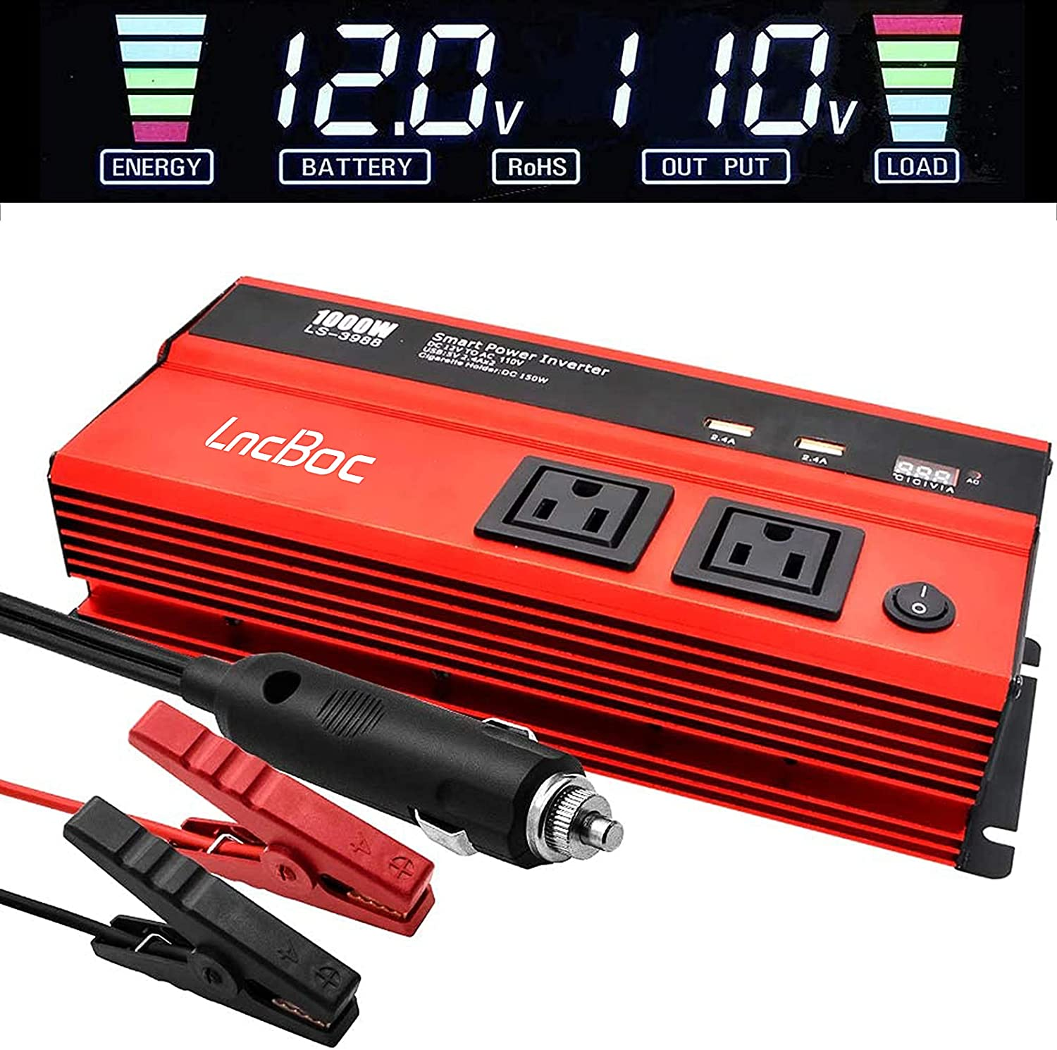 LncBoc 1000 Watt Inverter for Car Power Converter LncBoc Dual Ac Outlets 12V Dc to 110V Ac Modified Sine Wave Inverter with USB Charger Battery Clips for Tablets, Laptop and Smartpho