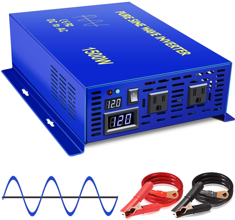 XYZ INVT 1500W Pure Sine Wave Inverter 12v to 110v 120v Off Grid Solar Power Inverter dc to ac Dual US Plug for Home Appliances (1500W12V-clamps)