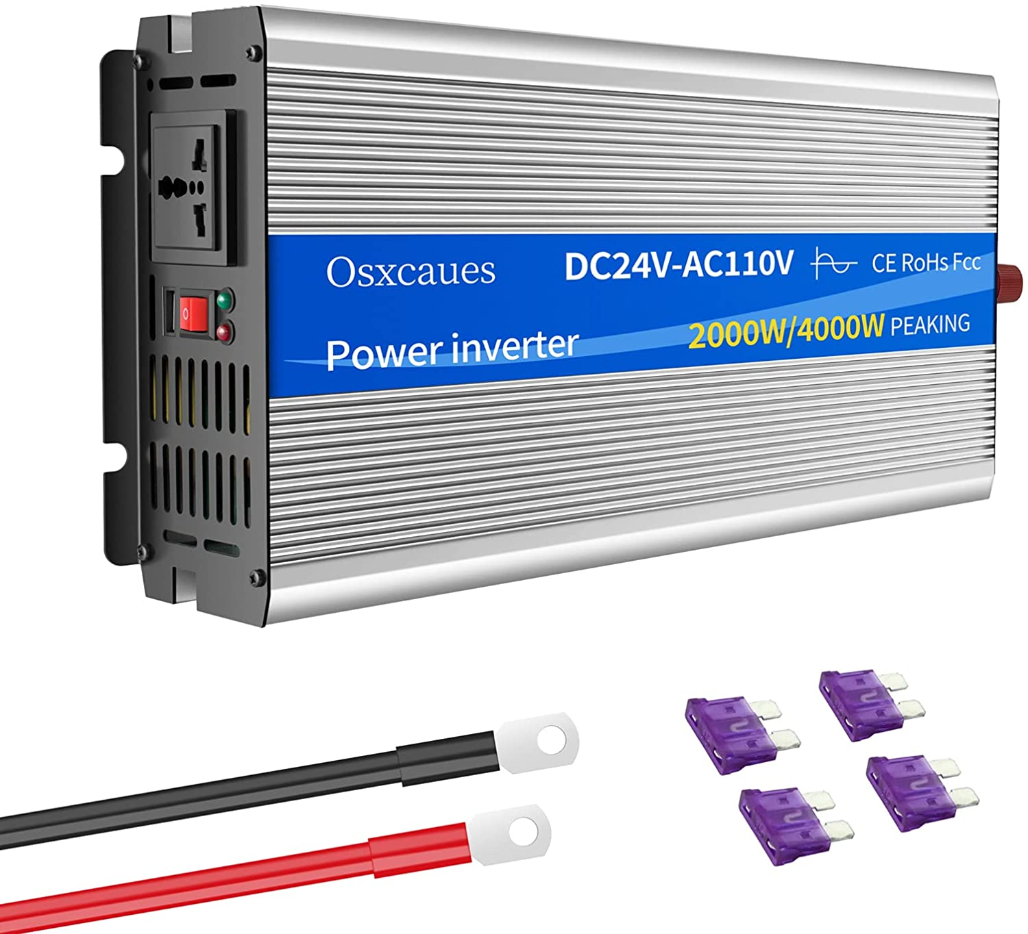 OSXCAUES Inverter 2000 Watts Pure Sine Wave 24V to 110V/120V DC to AC Converter with 1 AC Outlet 1 USB Port Approved Under ROHS FCC EMC