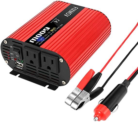 FIXMSV Car Power Inverter 600W Inverter 12v to 110v Inverter Double USB Power Inverter car Charger (600W) ac to dc Converter Power Inverter for car