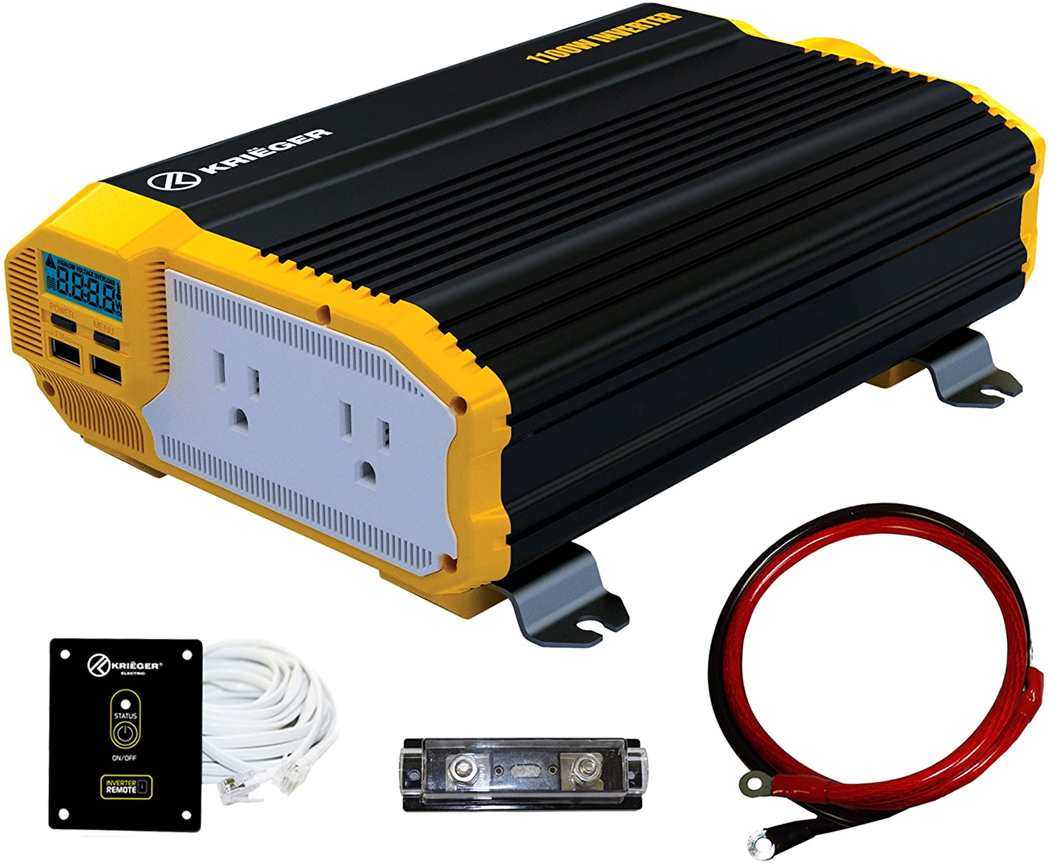 KRIEGER 1100 Watt 12V Power Inverter Dual 110V AC Outlets, Installation Kit Included, Automotive Back Up Power Supply For Blenders, Vacuums, Power Tools MET Approved According to UL and CSA.