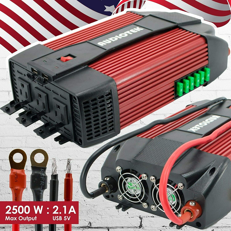 Audiotek 2500W Watt Power Inverter DC 12V AC 110V Car Converter USB Port Charger