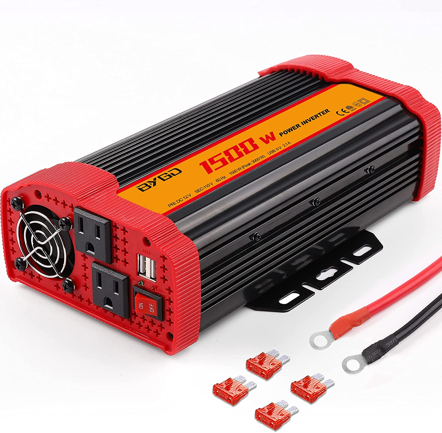 BYGD 1500W Power Inverter DC 12V to 110V AC Converter and Peak Power 3000W Car Inverter with 2 x 2.1A USB Ports Quick Charging Car Charger, Solar Inverter ETL Listed