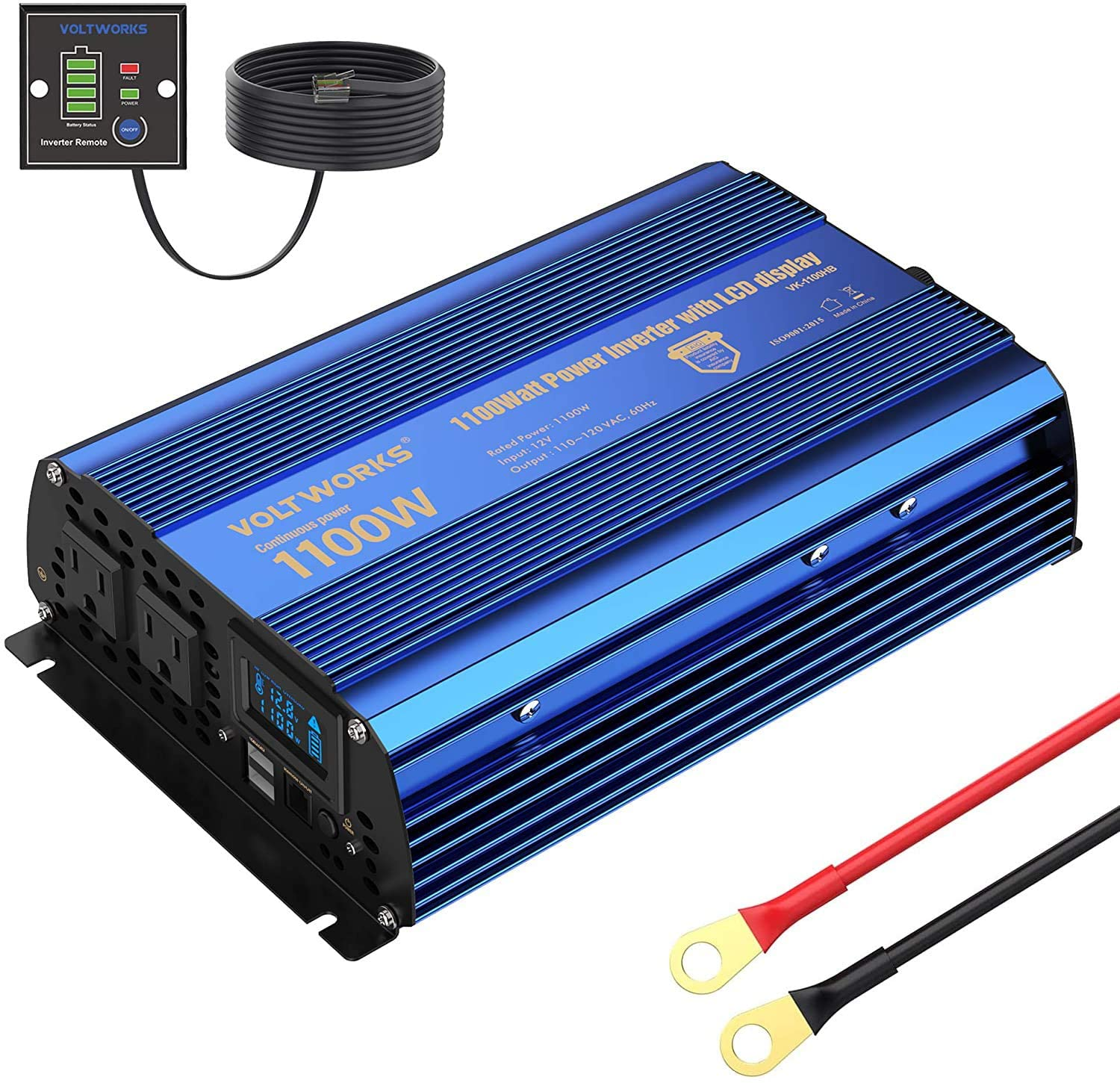 VoltWorks Power Inverter 1100 watt DC 12V to AC 120V Modified Sine Wave 1000w Inverter with LCD Display Remote Control 2AC Outlets Dual 2.4A USB Ports for Car RV Truck Boat by VOLTWORKS